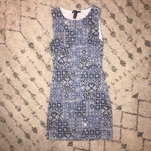 Forever 21 Bodycon Tribal Print Blue Dress